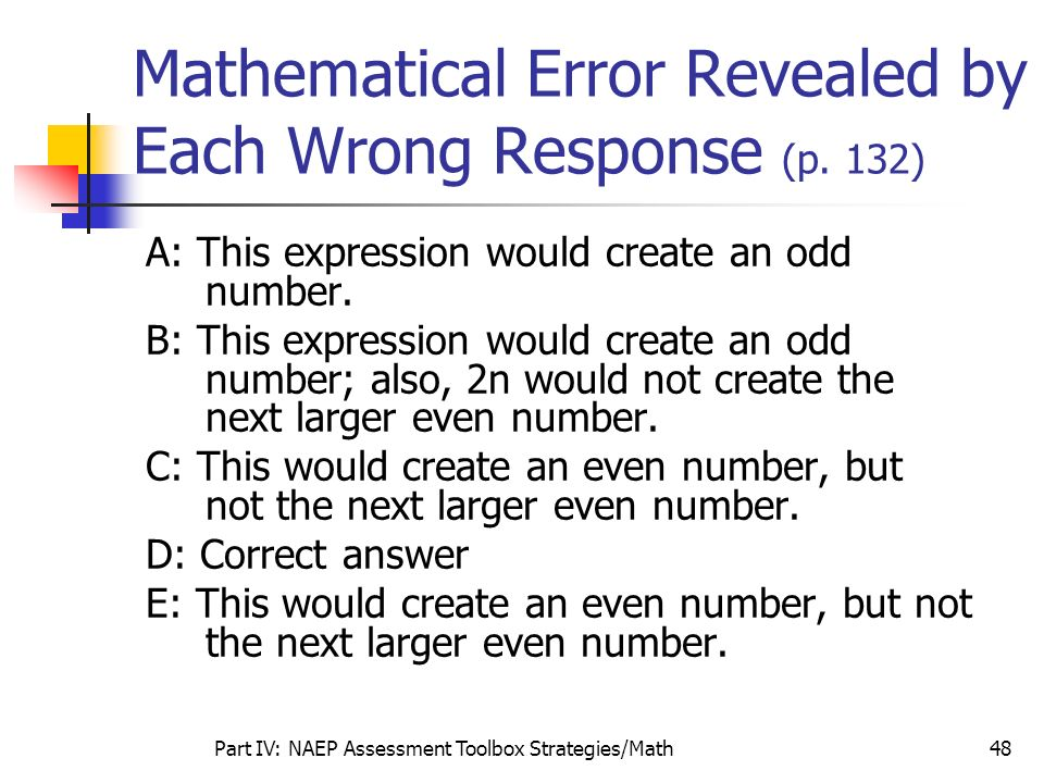 Mathematical Error Revealed by Each Wrong Response (p. 132)