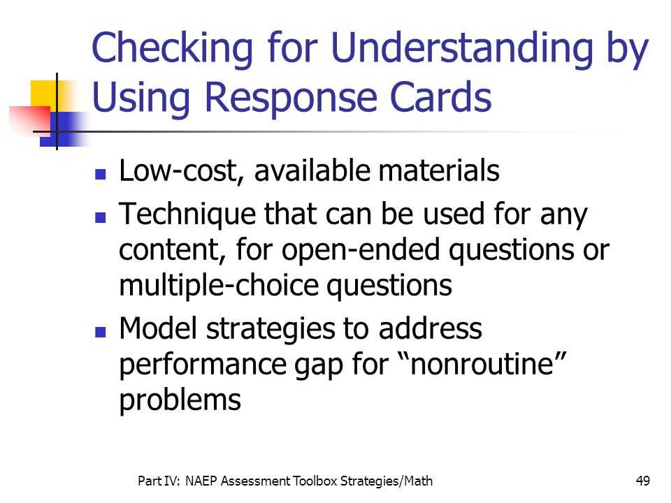 Checking for Understanding by Using Response Cards
