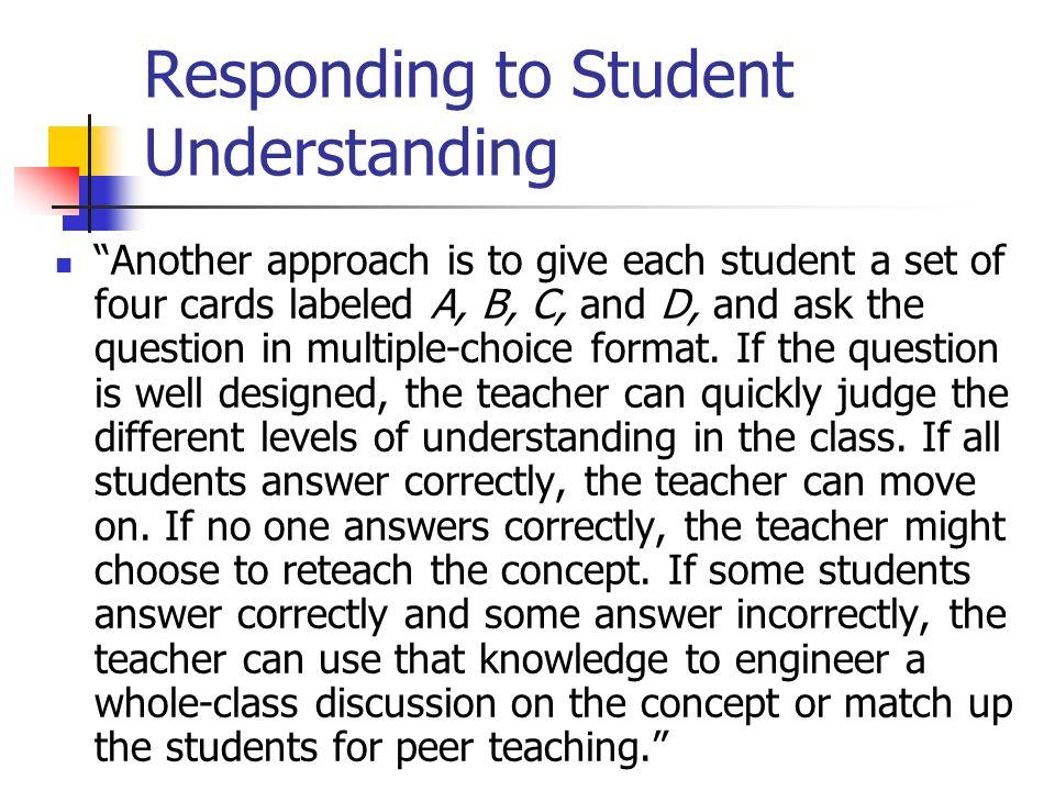 Responding to Student Understanding