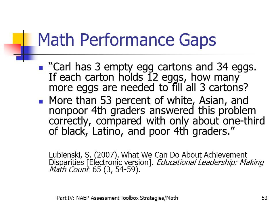 Part IV: NAEP Assessment Toolbox Strategies/Math