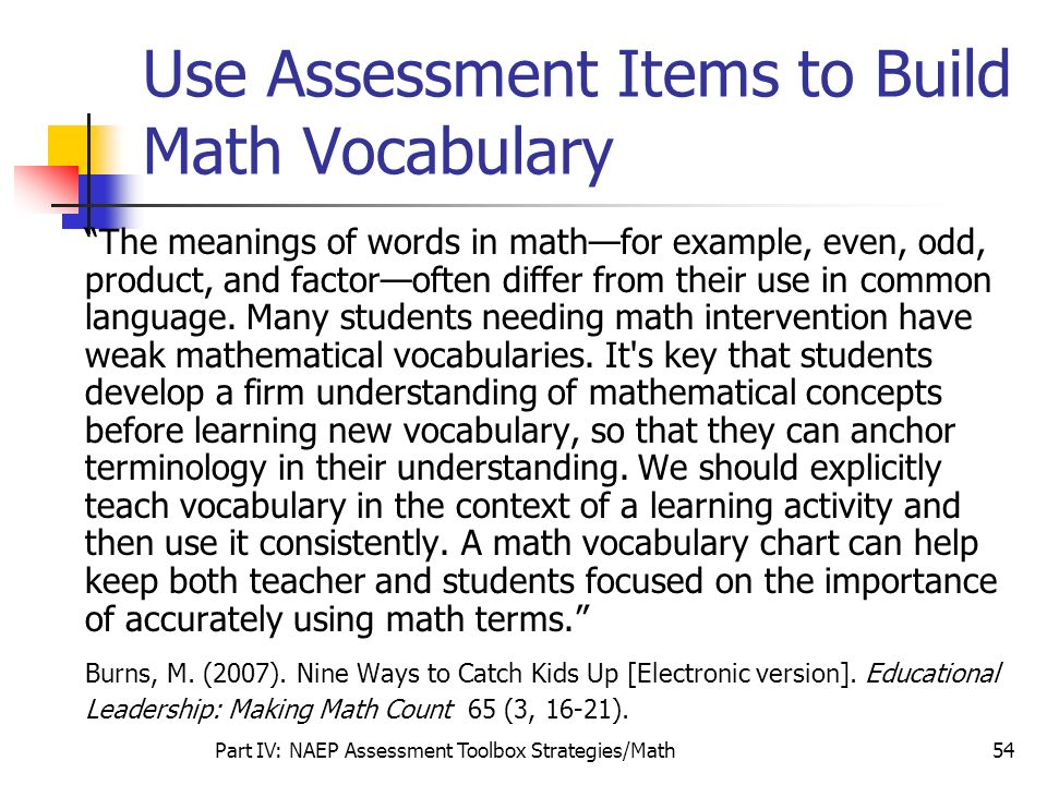 Use Assessment Items to Build Math Vocabulary