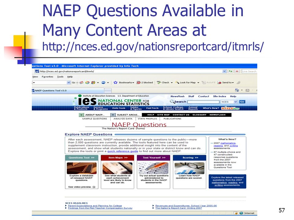 NAEP Questions Available in Many Content Areas at http://nces. ed