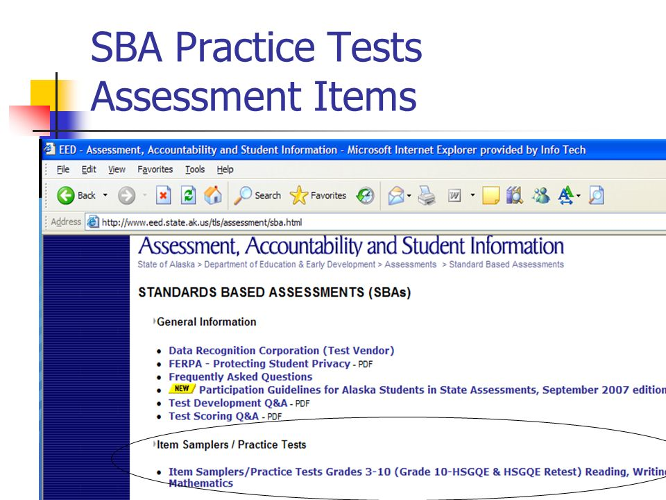 SBA Practice Tests Assessment Items