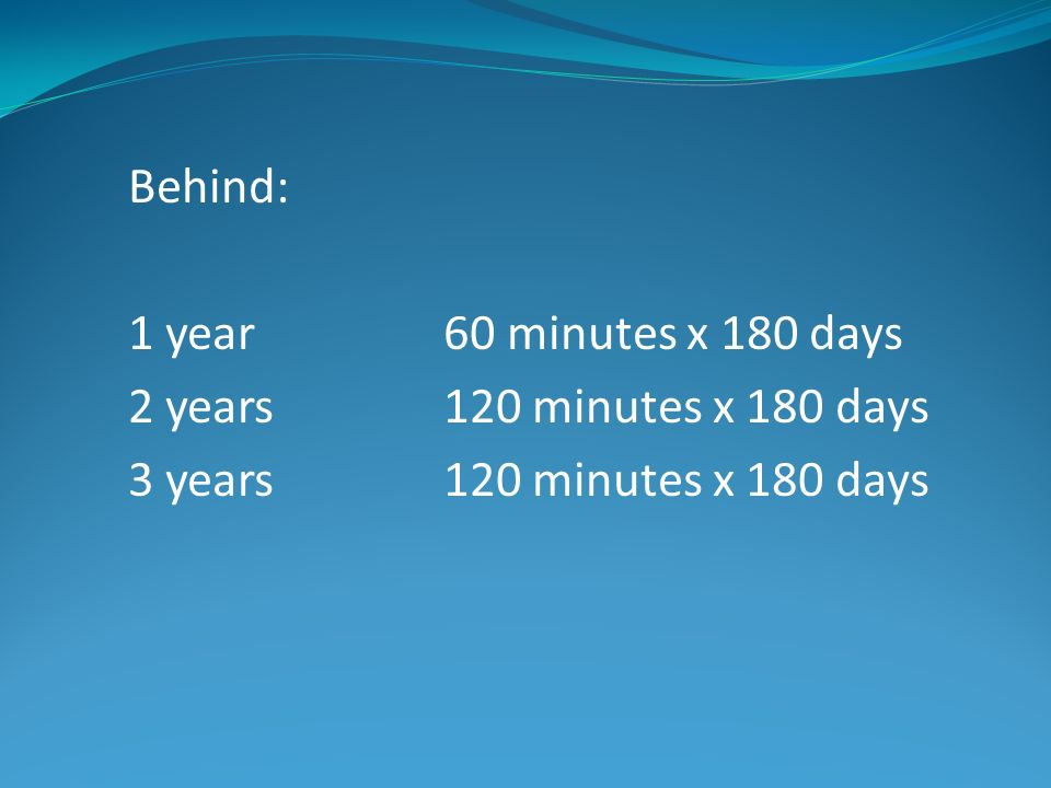 Behind: 1 year 60 minutes x 180 days. 2 years 120 minutes x 180 days.