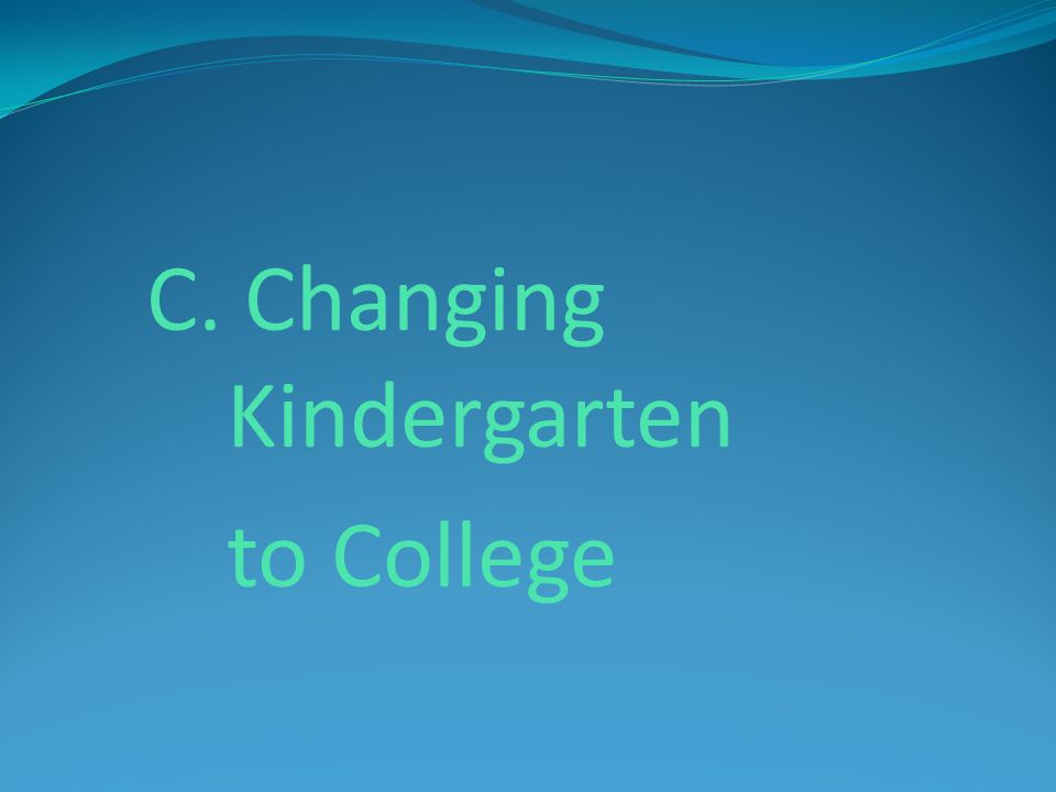 C. Changing Kindergarten