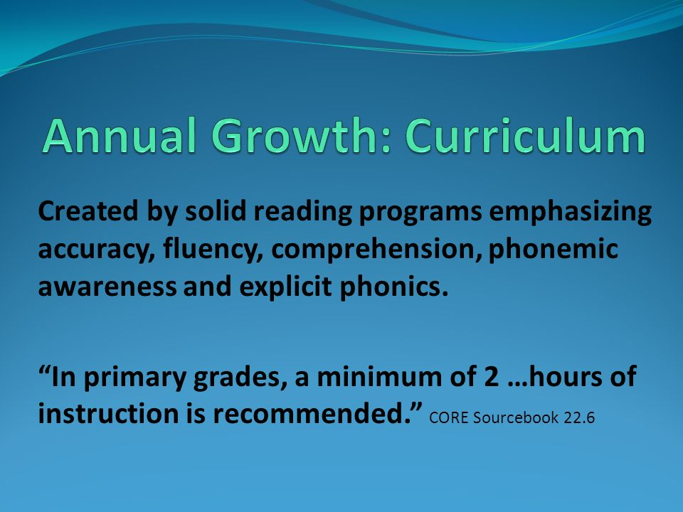 Annual Growth: Curriculum
