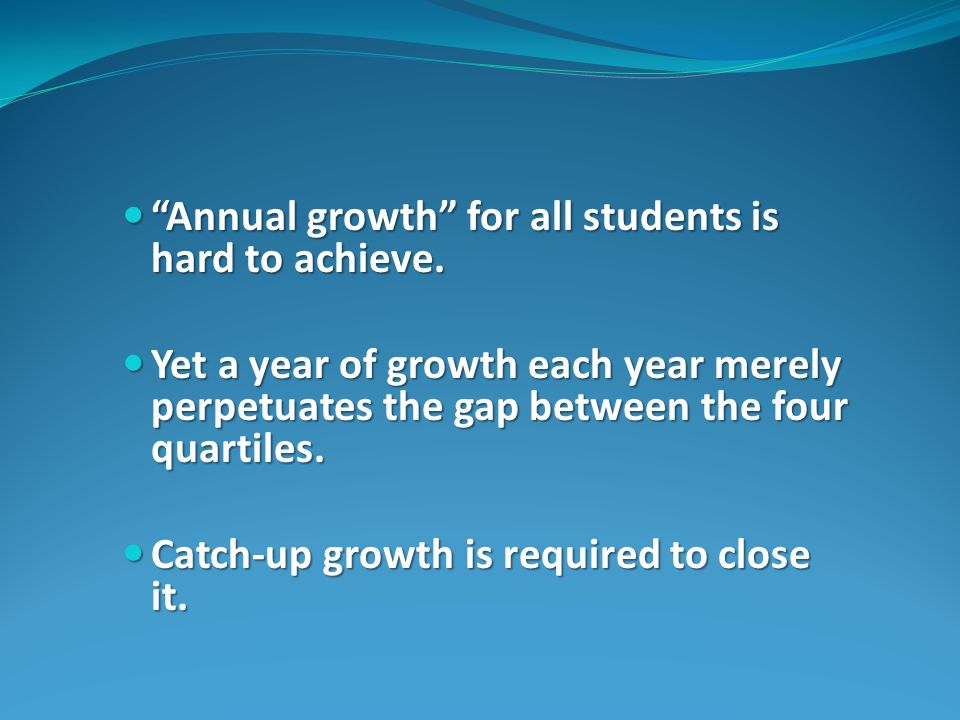 Annual growth for all students is hard to achieve.