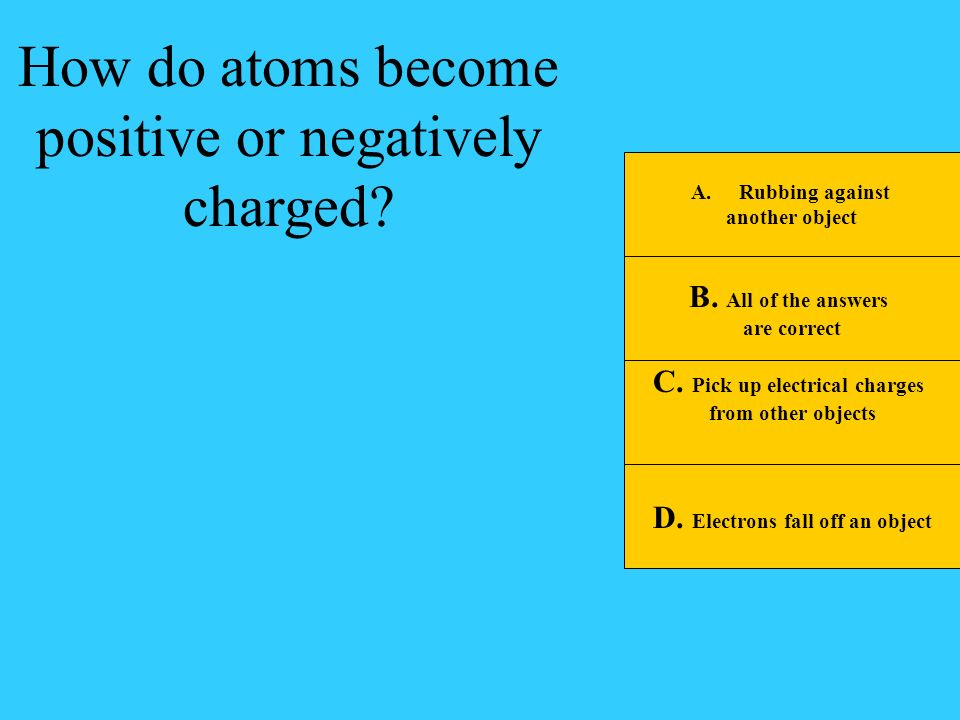 C. Pick up electrical charges D. Electrons fall off an object