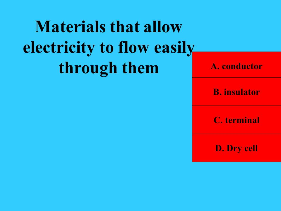 Materials that allow electricity to flow easily through them