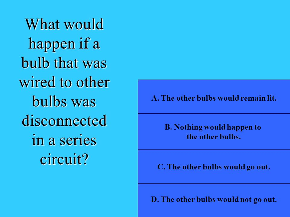 What would happen if a bulb that was wired to other bulbs was disconnected in a series circuit