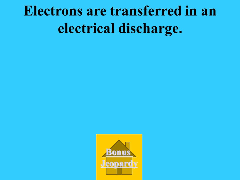Electrons are transferred in an electrical discharge.