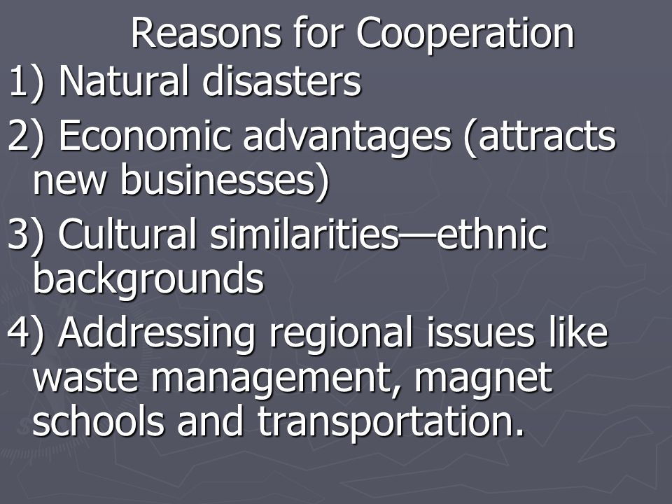 Reasons for Cooperation
