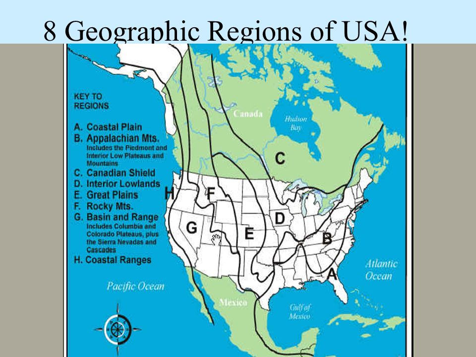8 Geographic Regions of USA!