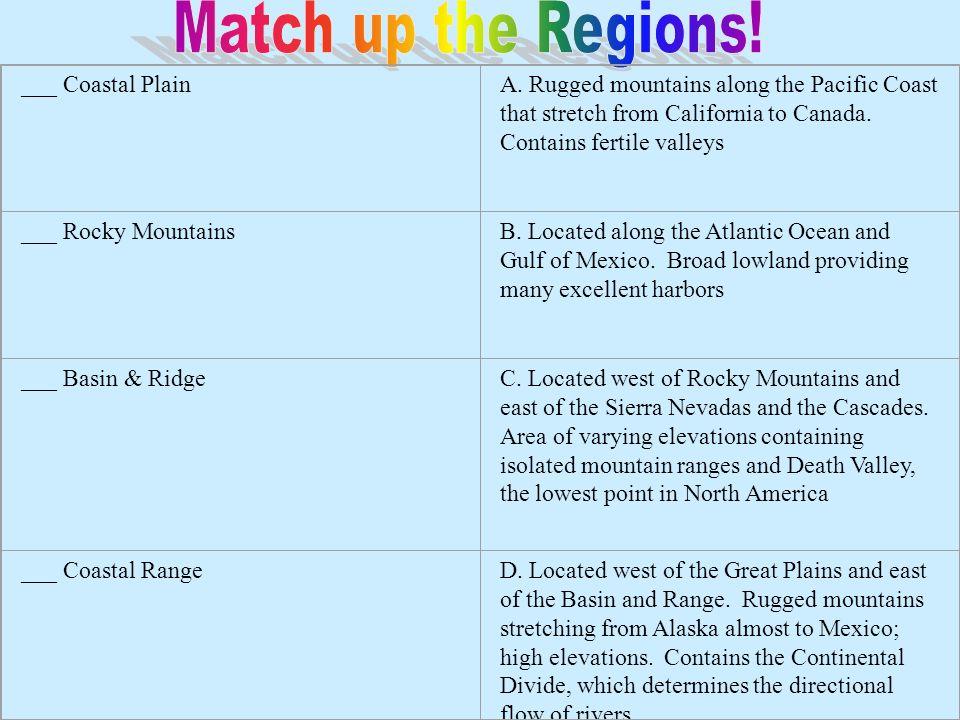 Match up the Regions! ___ Coastal Plain