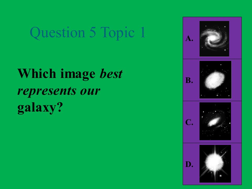A. Question 5 Topic 1 B. Which image best represents our galaxy C. D.