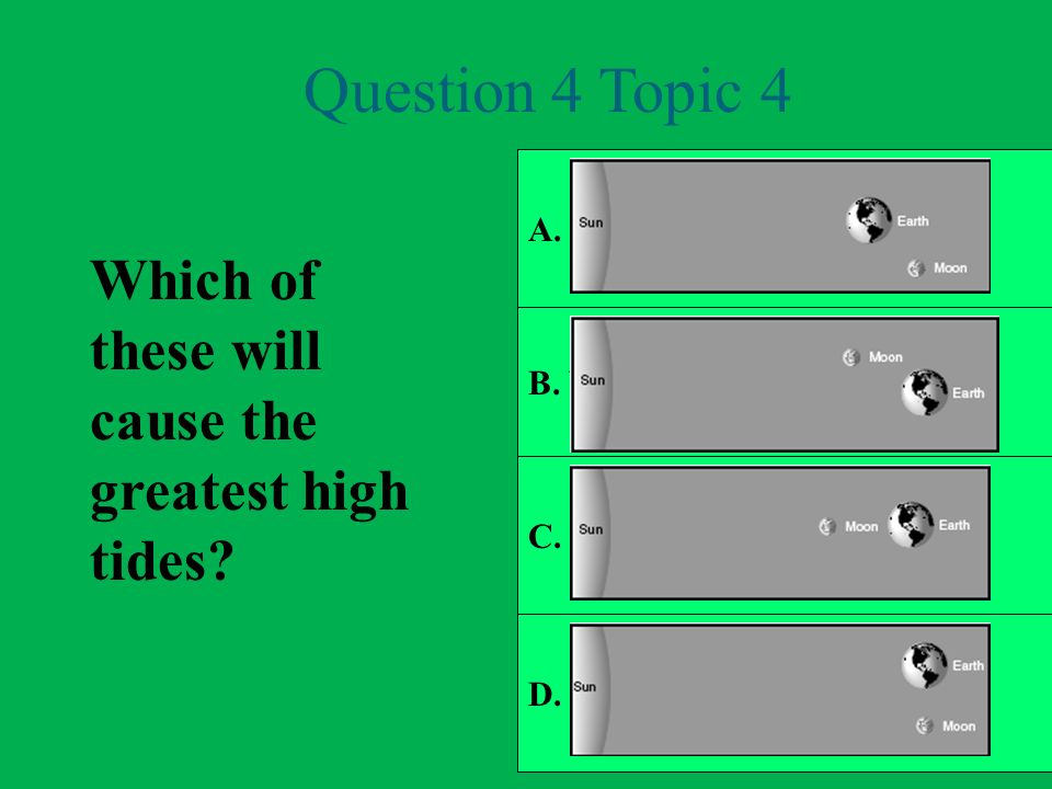 Question 4 Topic 4 Which of these will cause the greatest high tides