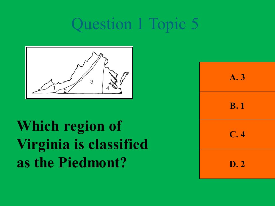 Question 1 Topic 5 Which region of Virginia is classified