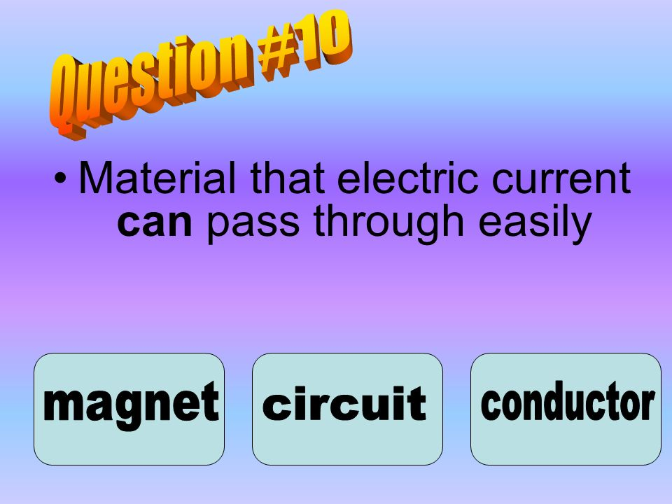Material that electric current can pass through easily