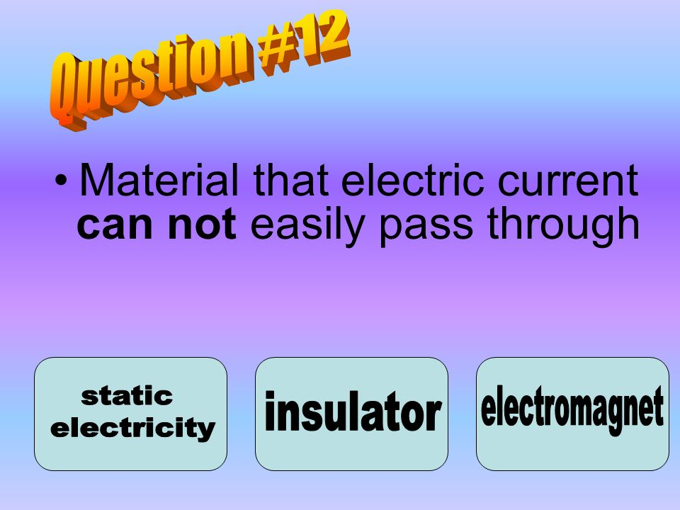 Material that electric current can not easily pass through