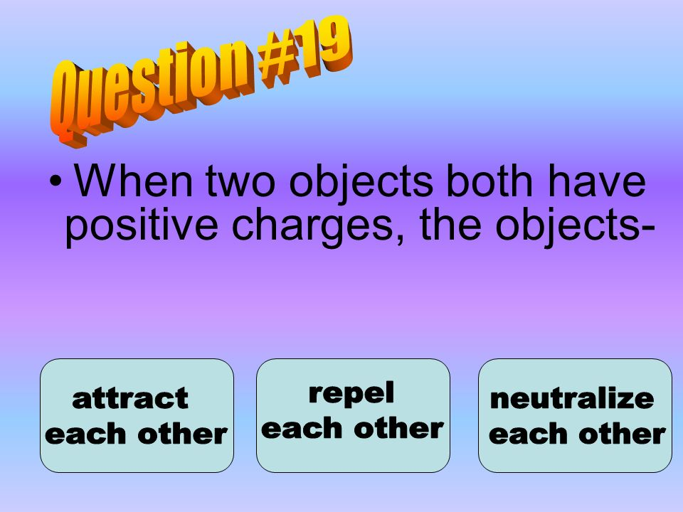 When two objects both have positive charges, the objects-