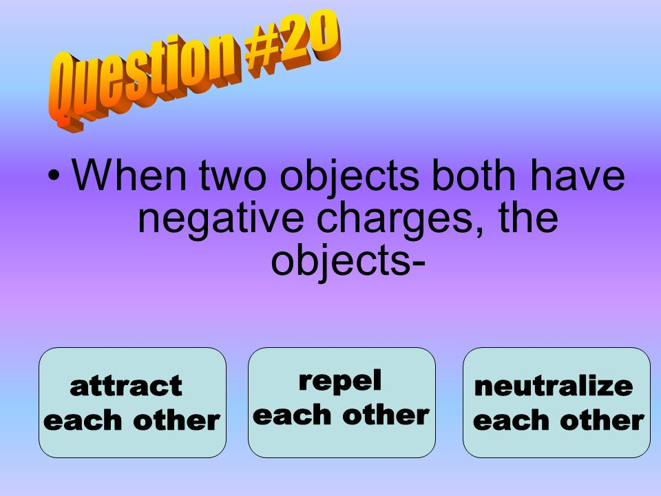 When two objects both have negative charges, the objects-