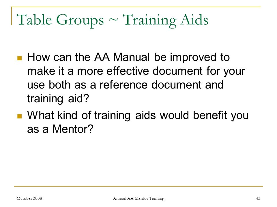 Table Groups ~ Training Aids
