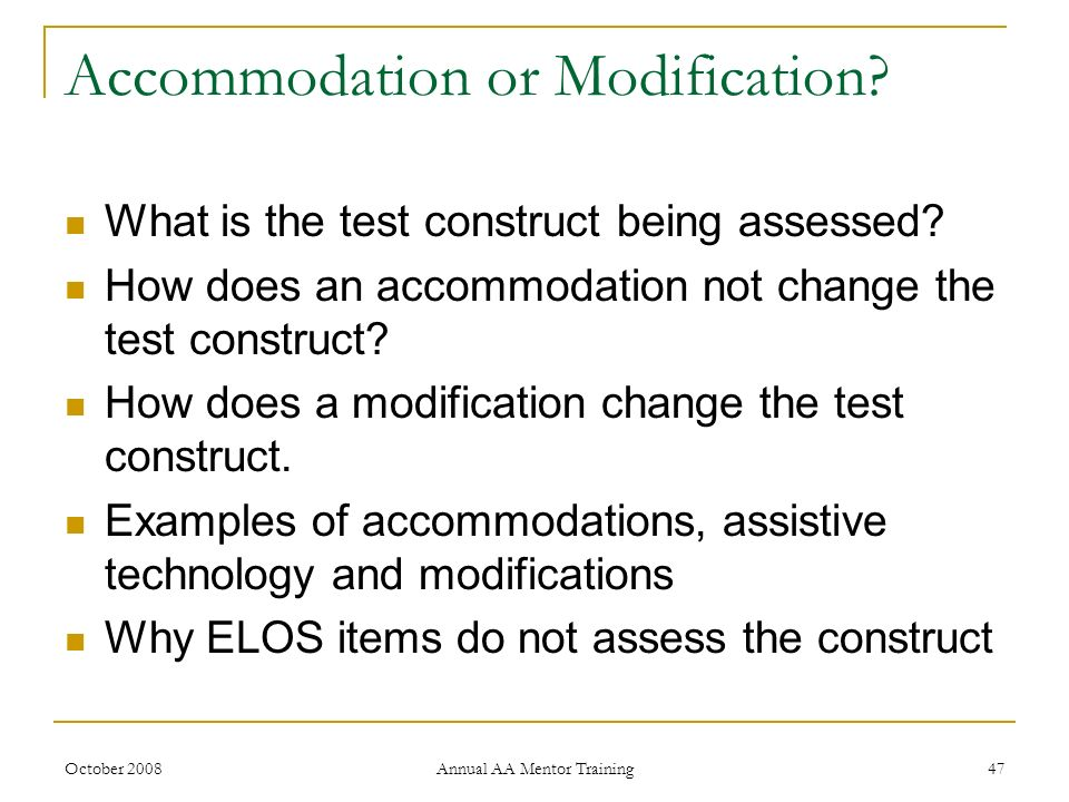 Accommodation or Modification