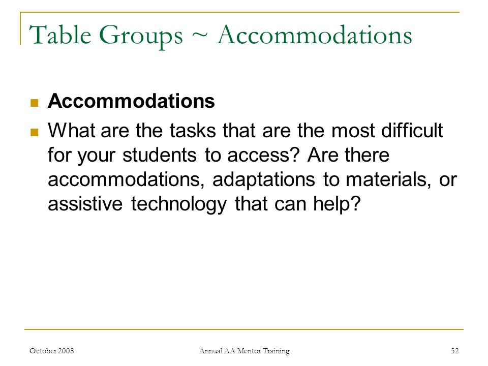 Table Groups ~ Accommodations
