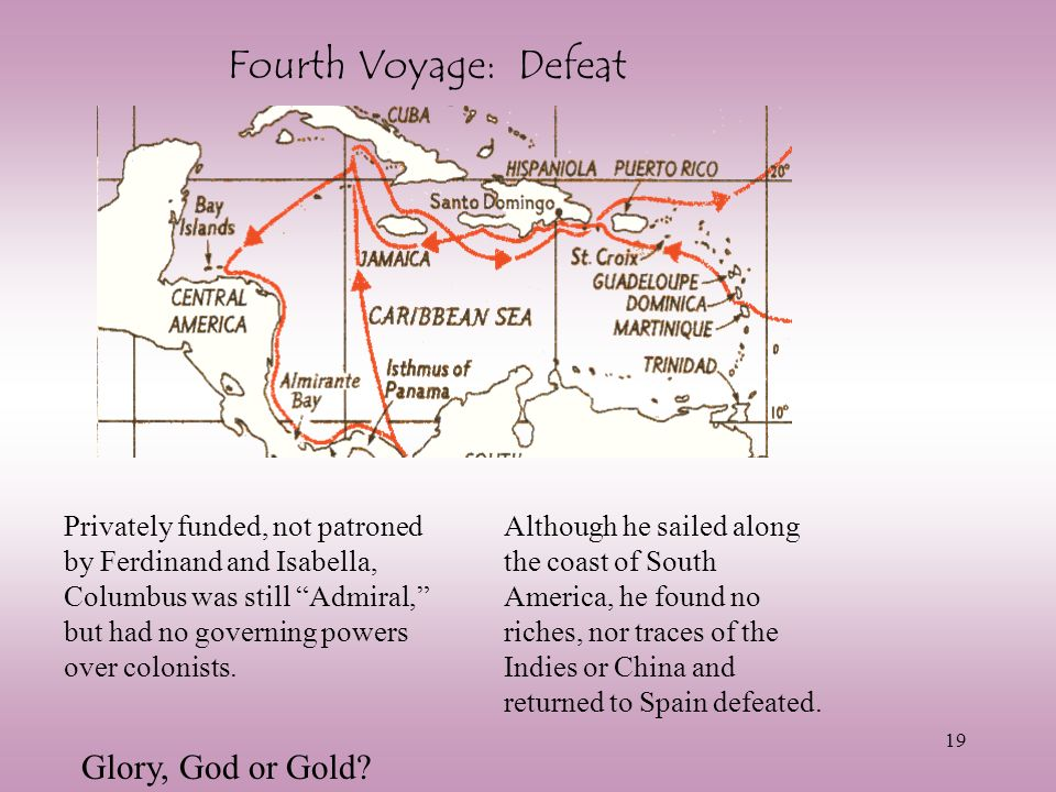 Fourth Voyage: Defeat Glory, God or Gold