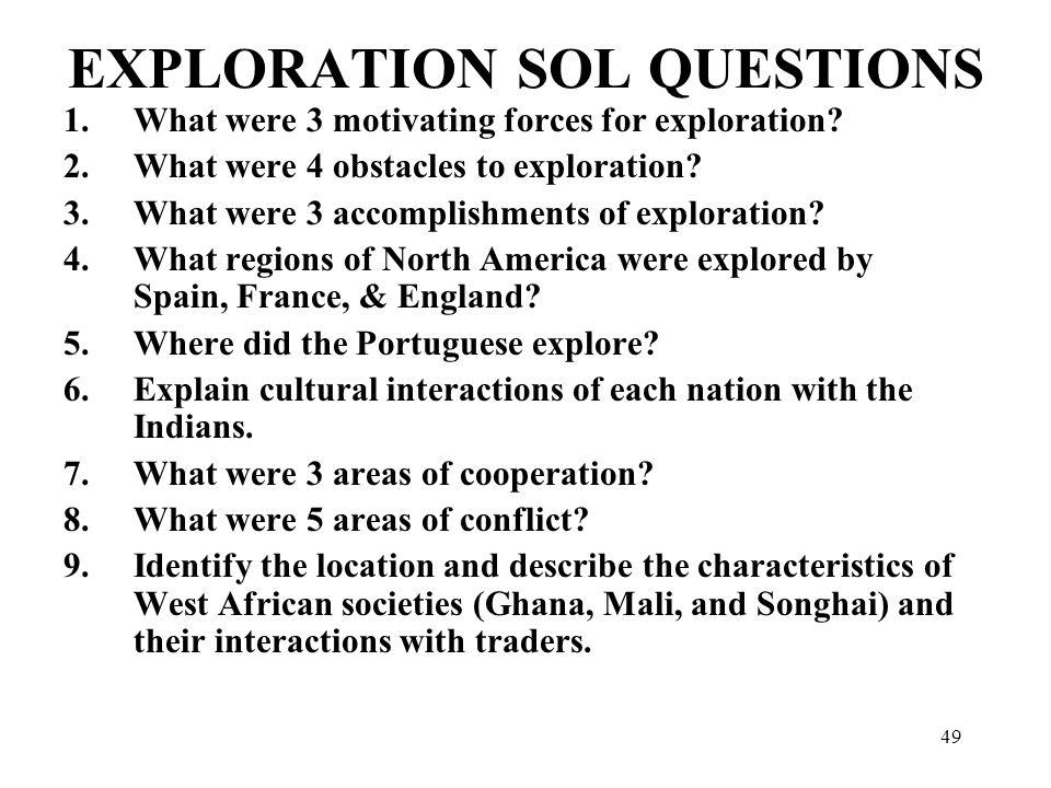 EXPLORATION SOL QUESTIONS