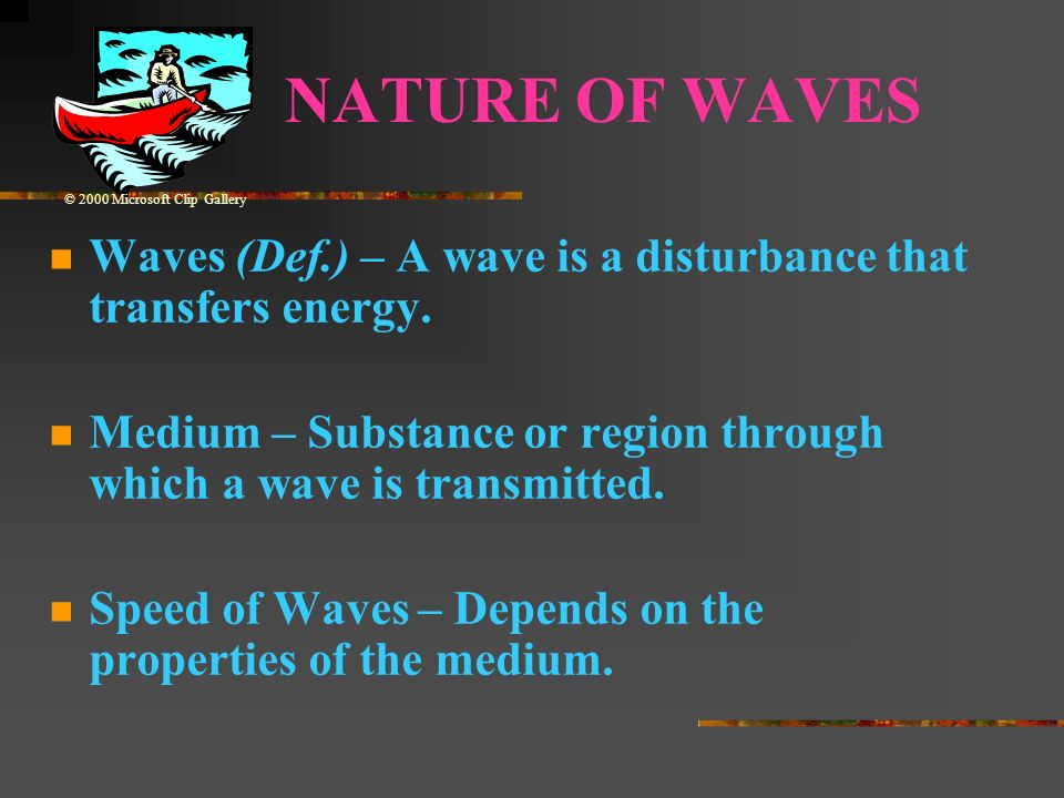 NATURE OF WAVES© 2000 Microsoft Clip Gallery. Waves (Def.) – A wave is a disturbance that transfers energy.