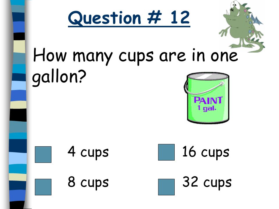 How many cups are in one gallon