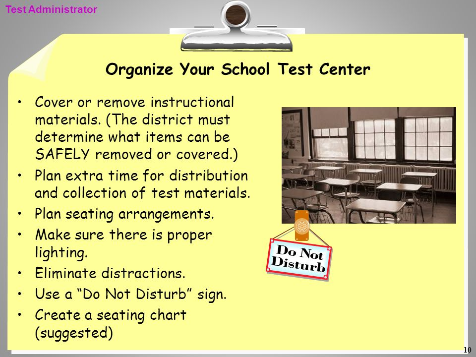 Organize Your School Test Center