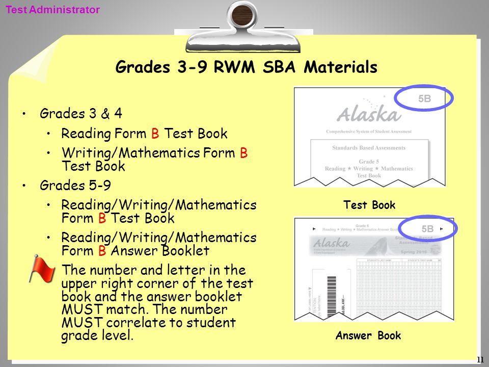Grades 3-9 RWM SBA Materials