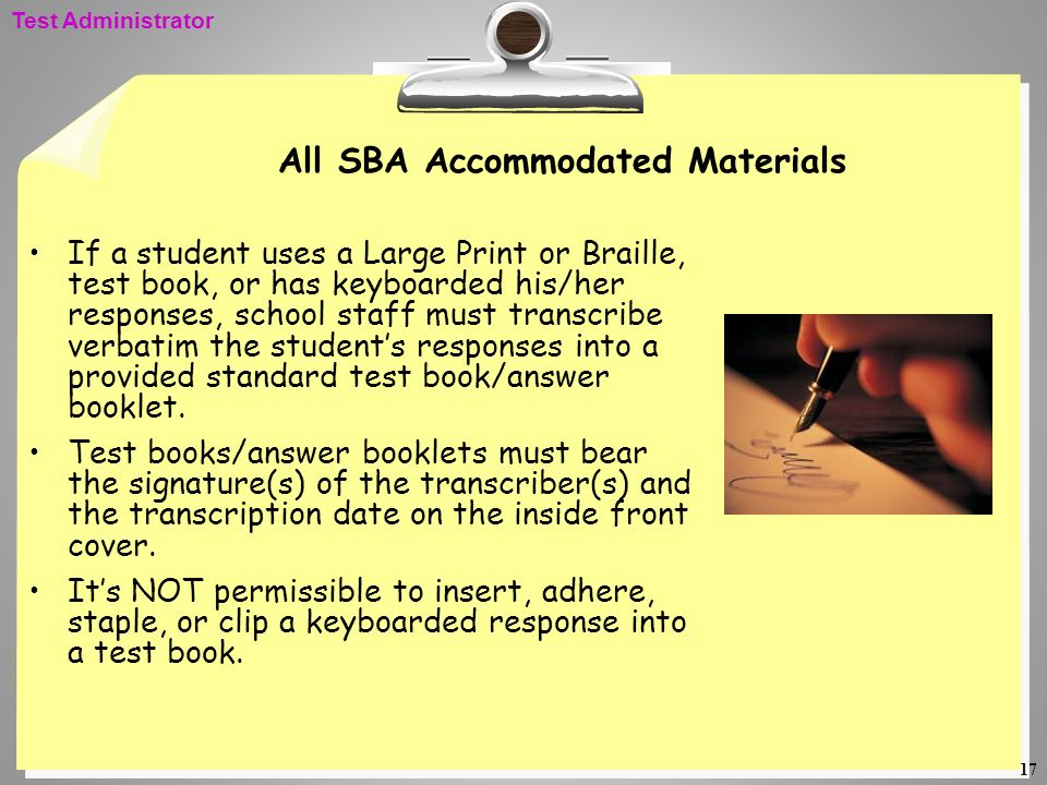 All SBA Accommodated Materials