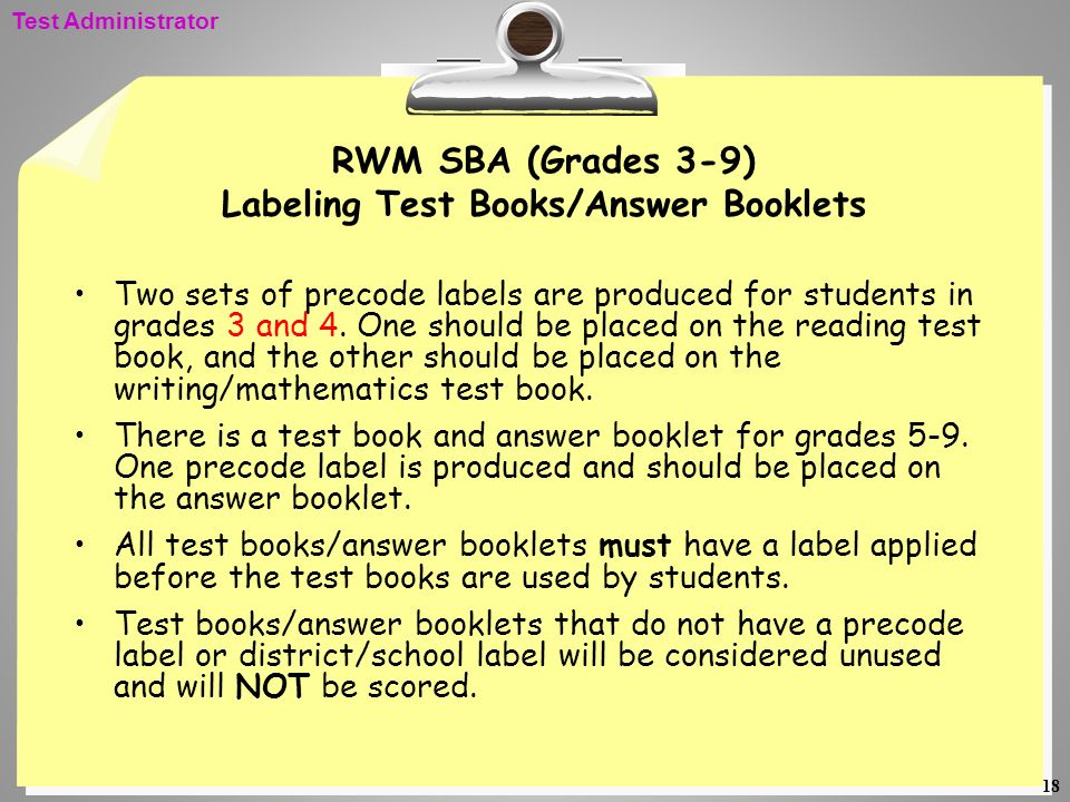 RWM SBA (Grades 3-9) Labeling Test Books/Answer Booklets