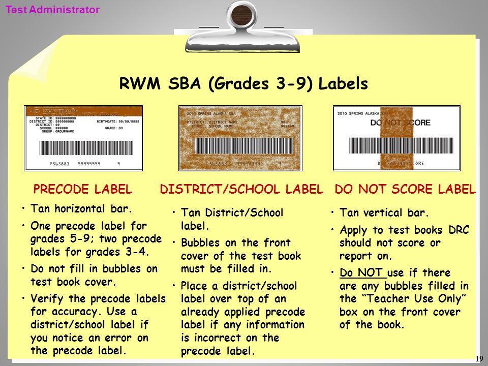 RWM SBA (Grades 3-9) Labels