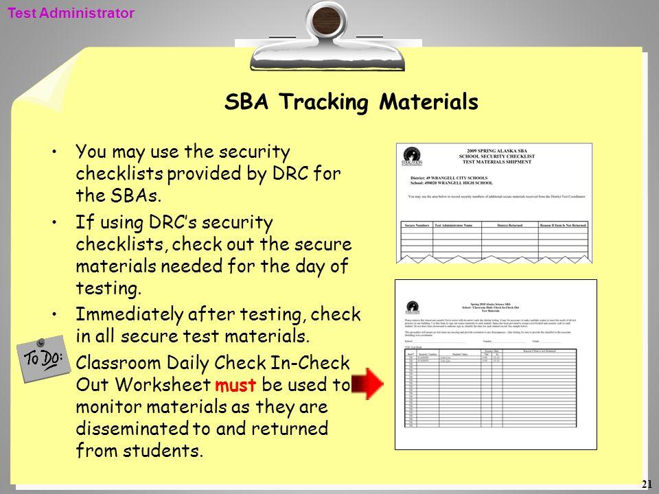 SBA Tracking Materials