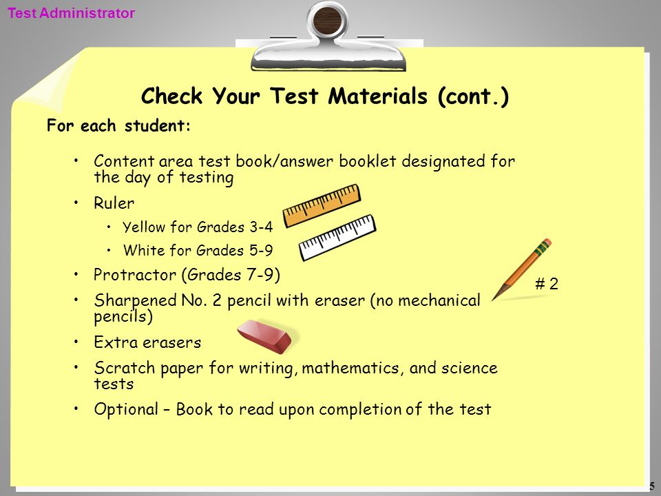 Check Your Test Materials (cont.)