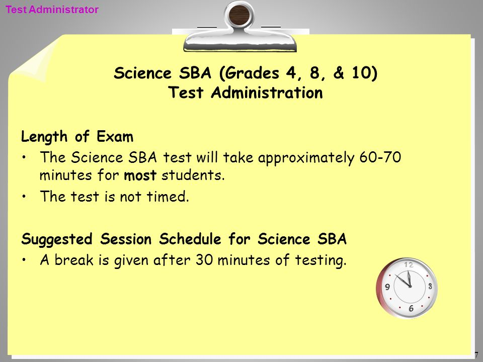 Science SBA (Grades 4, 8, & 10) Test Administration