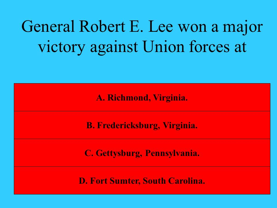 General Robert E. Lee won a major victory against Union forces at