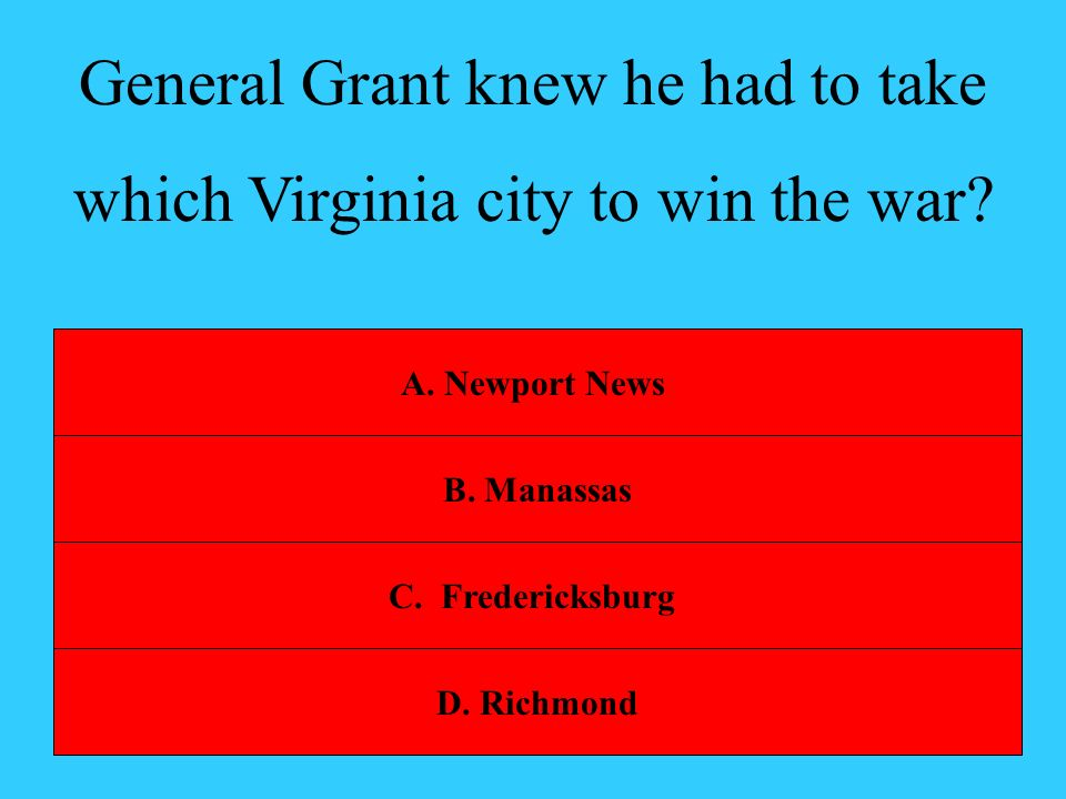 General Grant knew he had to take which Virginia city to win the war