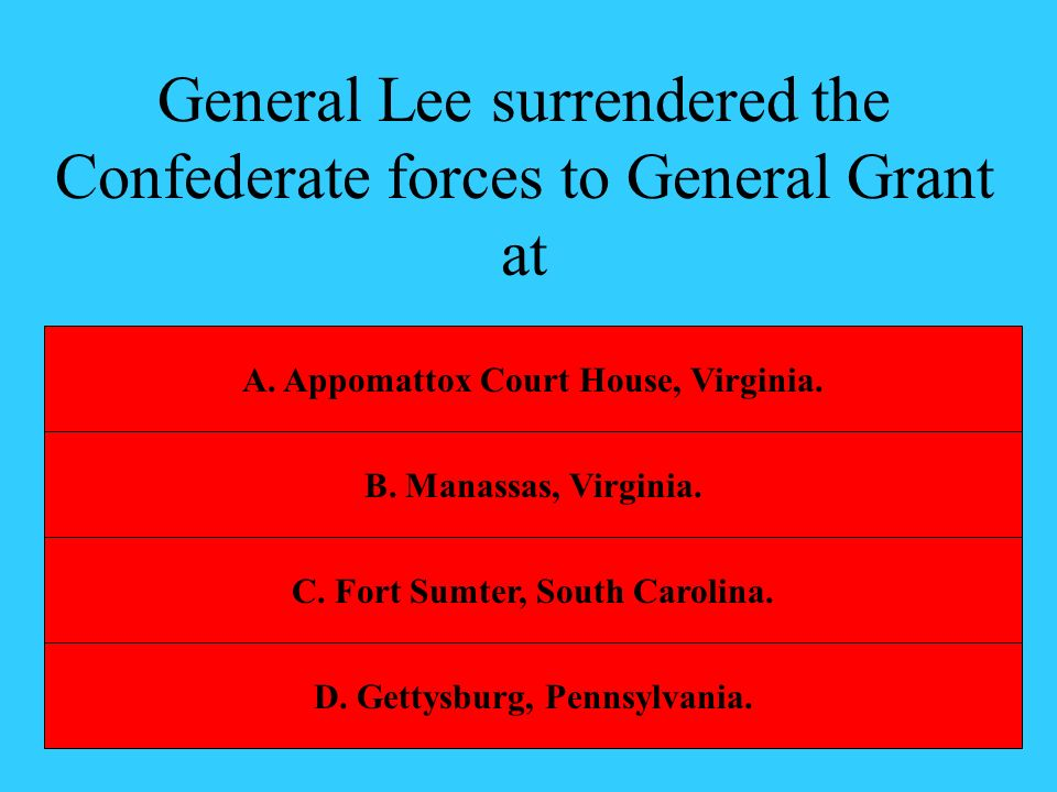 General Lee surrendered the Confederate forces to General Grant at