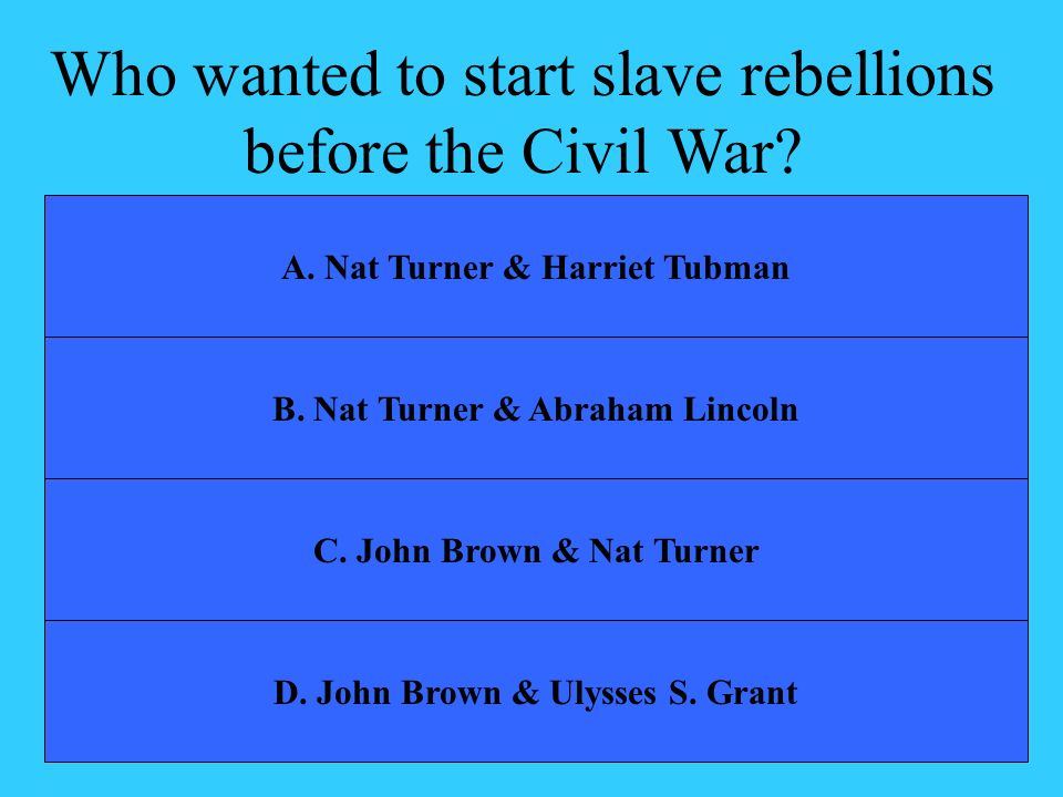 Who wanted to start slave rebellions before the Civil War