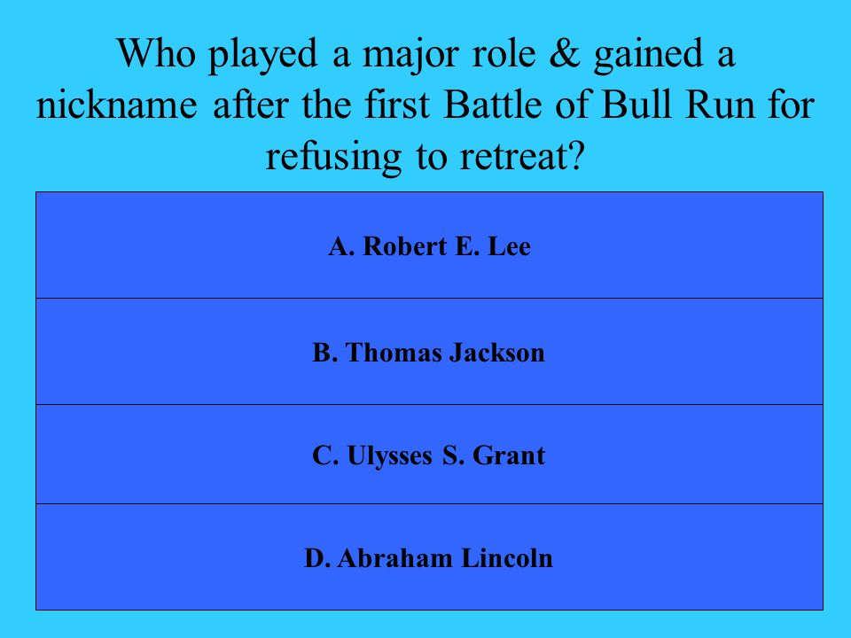 Who played a major role & gained a nickname after the first Battle of Bull Run for refusing to retreat