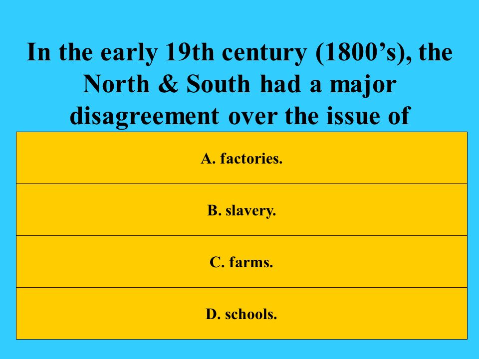 In the early 19th century (1800's), the North & South had a major disagreement over the issue of