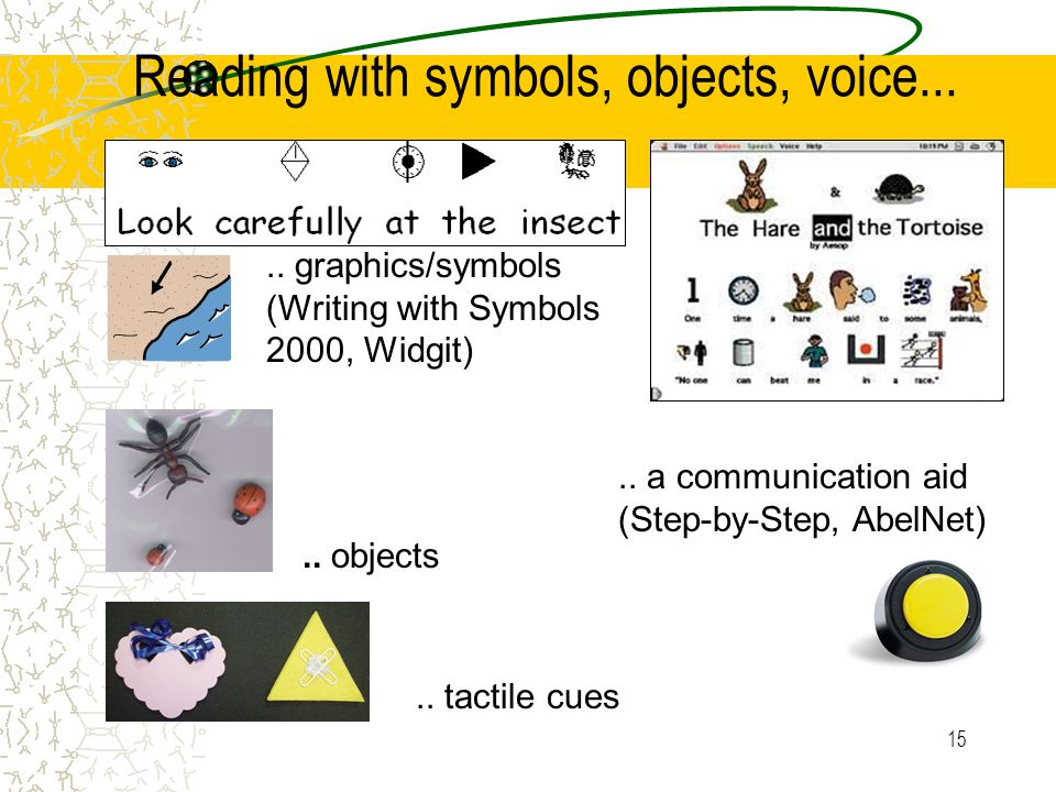 Reading with symbols, objects, voice...