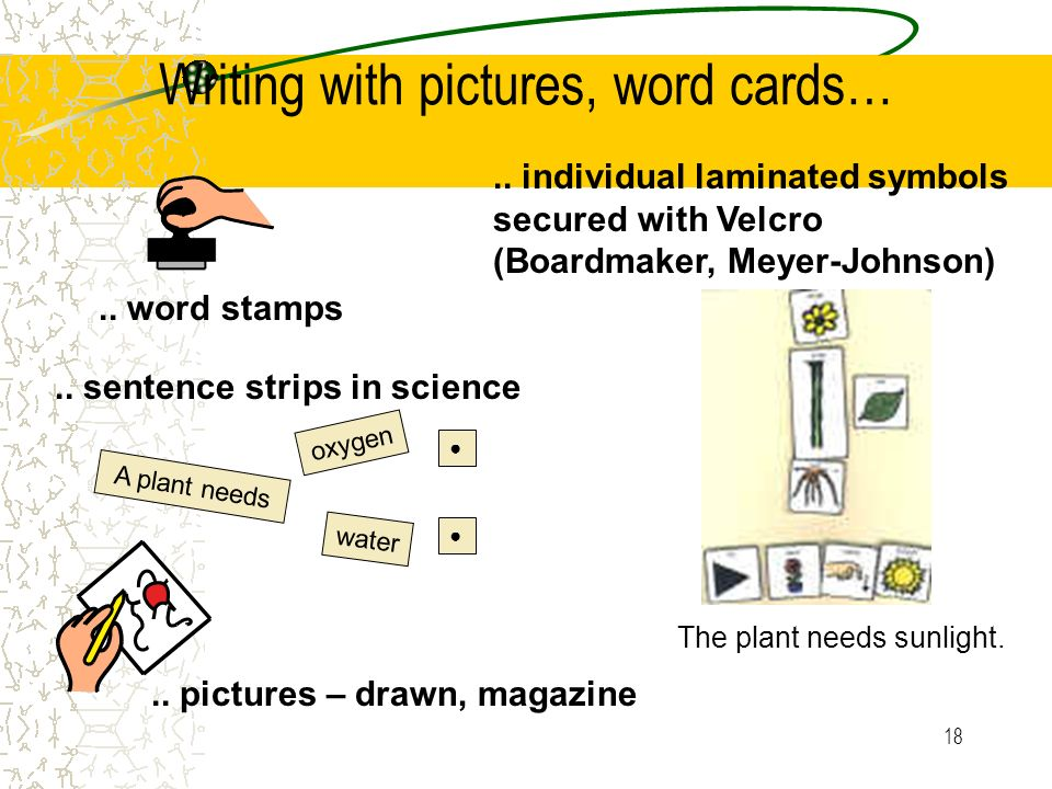 Writing with pictures, word cards…