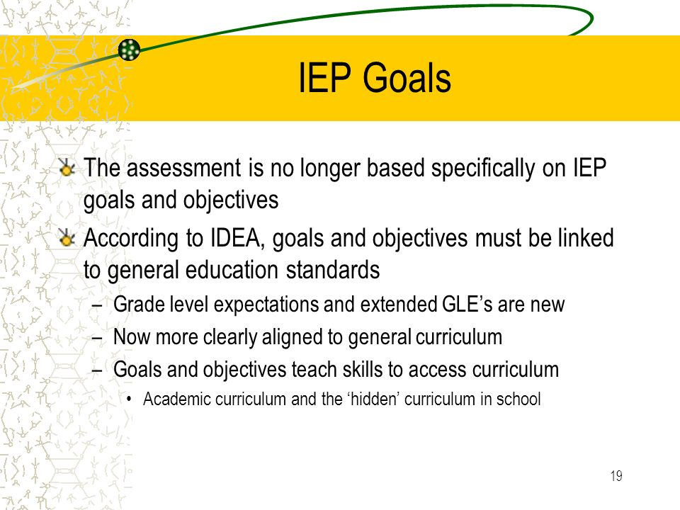IEP Goals The assessment is no longer based specifically on IEP goals and objectives.