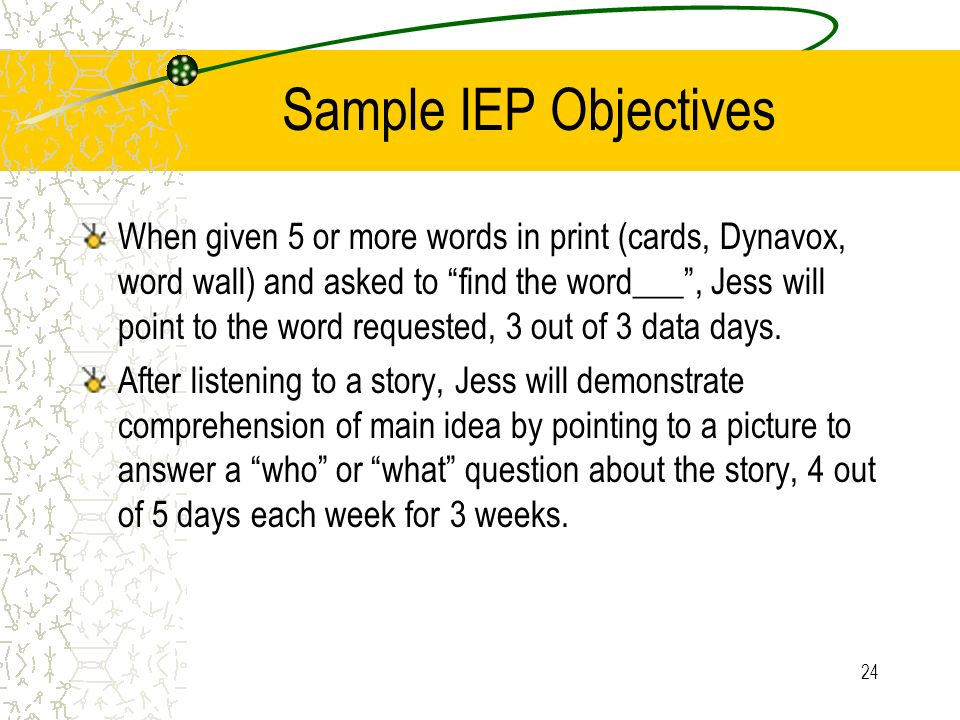 Sample IEP Objectives